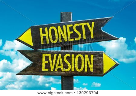 Honesty - Evasion crossroad with sky background