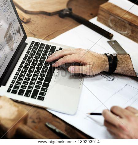 Blueprint Expertise Carpentry Craft Handmade Concept