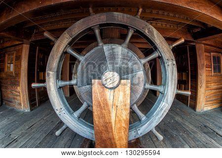 Pirate Ship Wood Wheel Detail