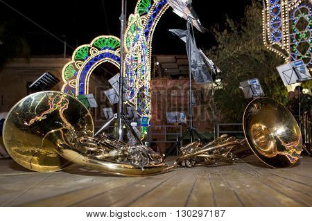 band instrument village celebration at night detail close