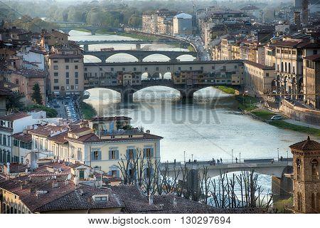 Florence Ponte Vecchio Sunset View