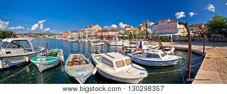 Stari Grad waterfront summer view panorama island of Hvar Croatia