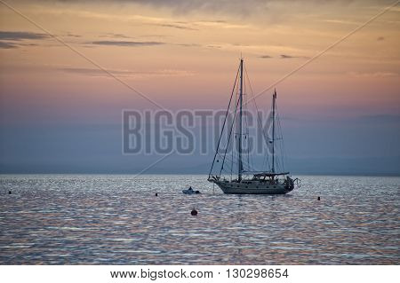 Sailboat Near Sestri Levante Beach At Sunset