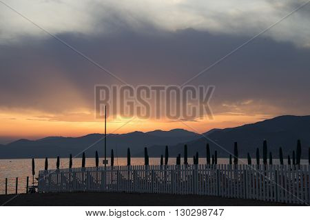 Italian Village Of Sestri Levante Beach At Sunset