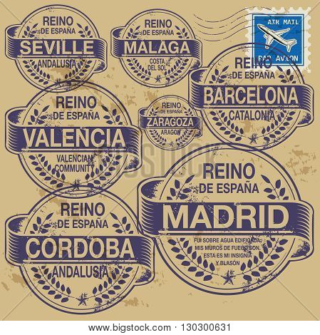 Grunge rubber stamp set with names of Spain cities, vector illustration