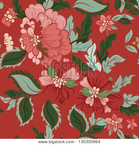 Beautiful floral seamless pattern . Light composition on red. Vector background.
