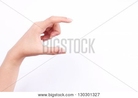 finger hand symbols isolated concept woman hand holding a futuristic business card or camera or mobile phone on white background
