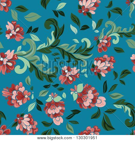 Beautiful floral seamless pattern . Light composition on blue. Vector background.