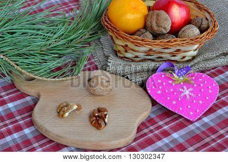 Felt heart - symbol of Valentines Day