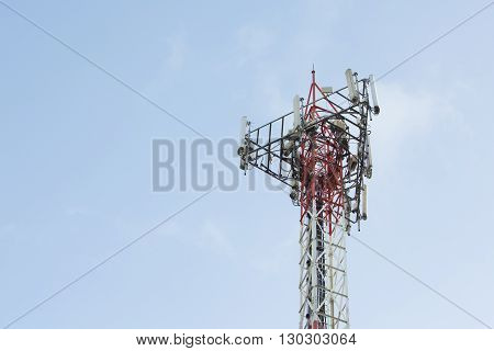 Telecom tower install communication equipment for sent signal to the city