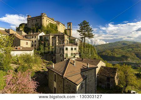 Bardi, Italy - April, 24 2016: The village Bardi and its castle, Emilia-Romagna, Italy