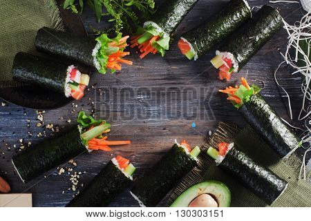 background Sushi rolls on top space for lettering does not cut long wooden table tabletop