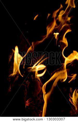 Flames On Black Background