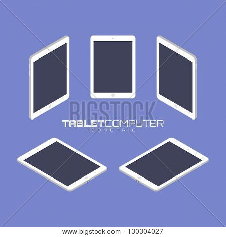 White Tablet computer from four sides icon set vector graphic illustration. Isometric view of the front, back, right, left and top.