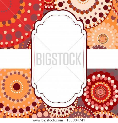 Patterned frame background invitation circular ornament red. painted multi-colored orange yellow circles. An invitation to holidays and celebrations