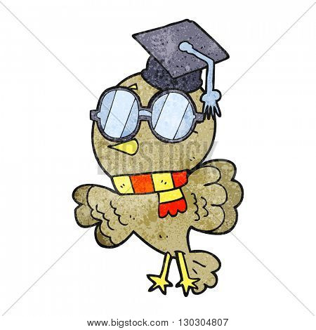 cute freehand drawn texture cartoon well educated bird