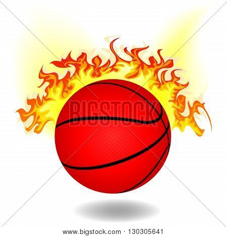 simple burning basketball ball on white background