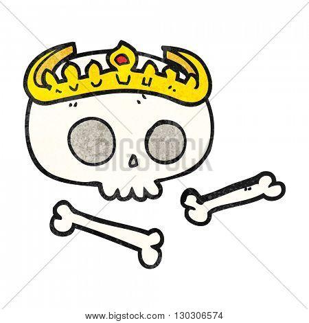 freehand drawn texture cartoon skull wearing tiara