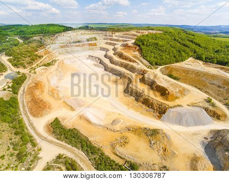 Aerial view of biggest Czech limestone quarry Devil's Stairs - Certovy Schody near Prague. Aerial view of industrial landscape after mining. Industry and environment in Czech Republic, Europe.