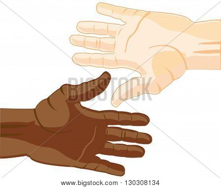 Hands of the people of the miscellaneous of the colour of the skin