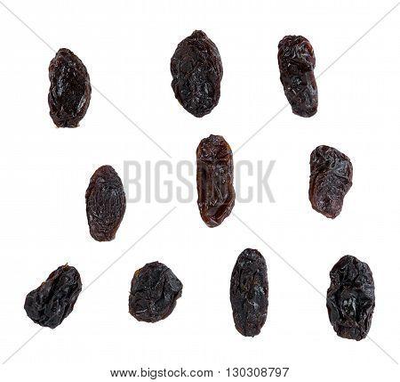 Closeup Dried raisins on white background. Dried raisins