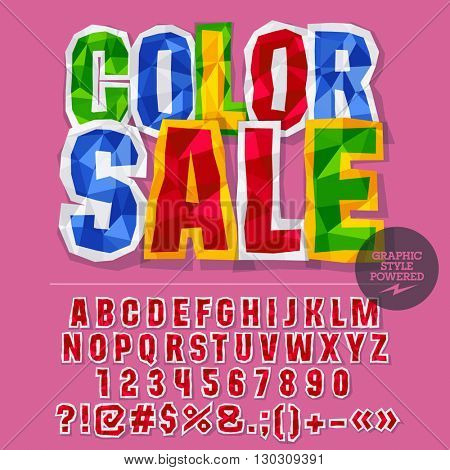 Vector colorful crumpled paper alphabet letters, numbers and punctuation symbols. Bright sign with text Color sale