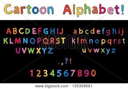 Vector Illustration of cartoon Letters. Alphabet. ABC set