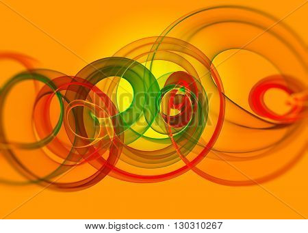 holyday glass transparent rainbow curved spiral and sircles over yellow orange Abstract Background.  horizontal Illustration