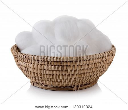 Closeup cotton wool on white background. cotton wool