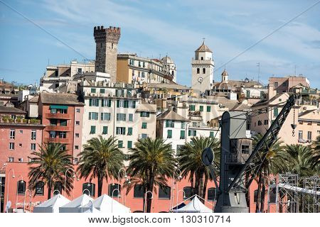 Genoa Town Cityscape Panorama From The Sea