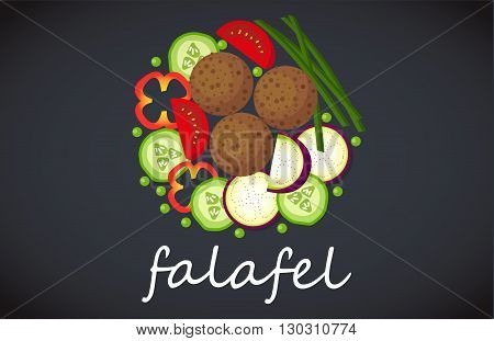 Plate of vegetarian falafel. View from above.