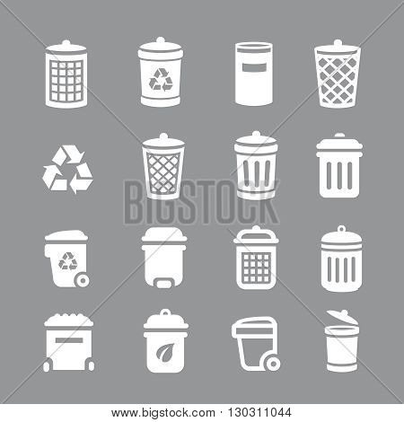 Trash can and recycle bin icons. Garbage, rubbish,  Vector illustration