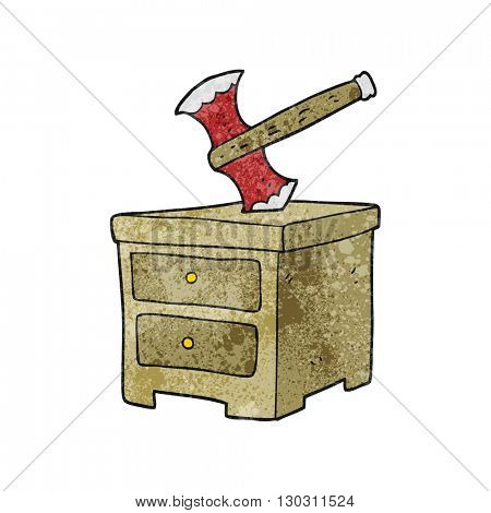 freehand textured cartoon axe buried in chest of drawers