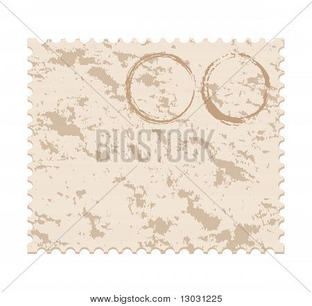 Vector Illustration Of An Old  Blank Grunge Post Stamp On White Background
