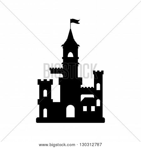 flat castle icon abstract medieval kids castle silhouette