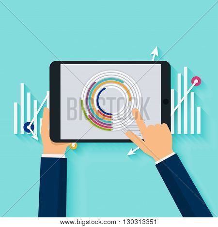 Hand holding a digital tablet with finance statistical data analyze. Business flat vector illustration.
