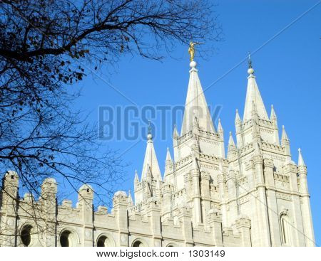 Mormon Temple And Blue Sky