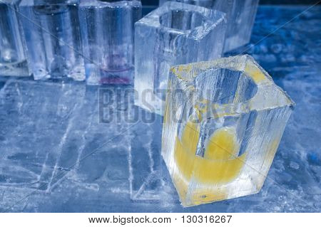 Ice Blocks Glasses In A Ice Hotel Bar Pub