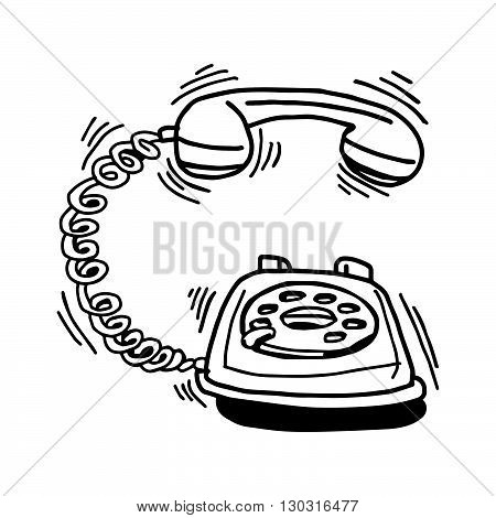 illustration vector hand drawn doodle of ringing retro telephone isolated