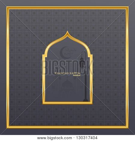 Ramadan Kareem celebrations. Ramadan greetings background. Islamic holy month of prayers. vector holiday illustration of gold Ramadan Kareem label. Composition muslim holy month with  fanus