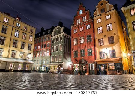 gamla stan place night view panorama city scape