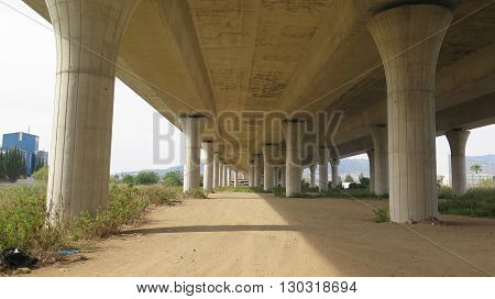 Supporting Pillars on Highway overpass near Malaga Andalucia