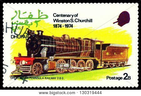 STAVROPOL RUSSIA - MARCH 30 2016: A Stamp printed in the Dhufar shows steam locomotive Great Indian Peninsula Railway 2-8-0 stamp devoted to the Centenary of Winston S. Churchill circa 1974