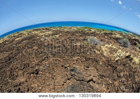 Big Island Hawaii Lava And Sea Landscape View