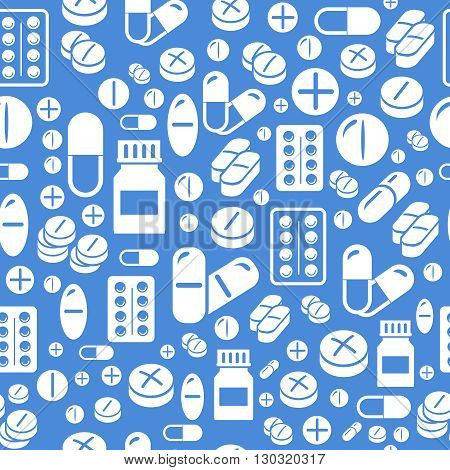 Background made from pills and capsules   seamless pattern. Vector pharmacy Illustration