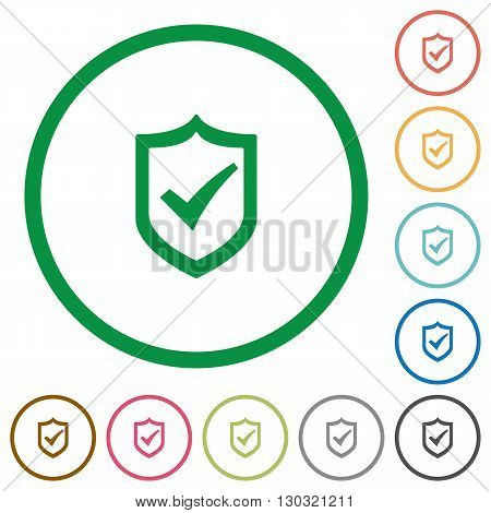 Set of Active shield color round outlined flat icons on white background