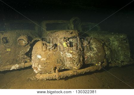 Old Car Inside Ii World War Ship Wreck Hold