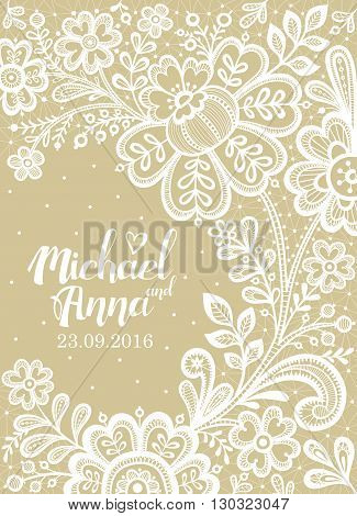 Lace. Card with a white lace. Floral Background Lace. Wedding invitation lace.Vector greeting card.