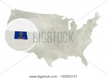 Polygonal Abstract Usa Map With Magnified North Dakota State.