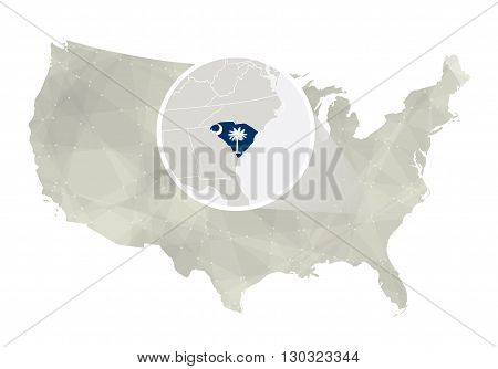 Polygonal Abstract Usa Map With Magnified South Carolina State.